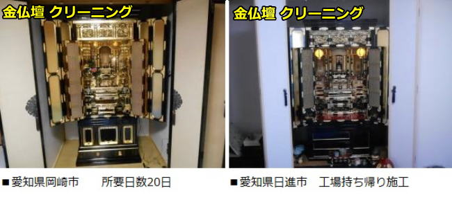 金仏壇クリーニングを愛知県岡崎市と愛知県日進市に施工後に納品しました。