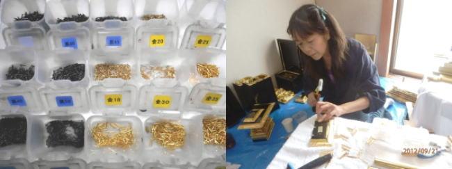 仏壇用の金釘、黒釘など色々なサイズを揃えています。