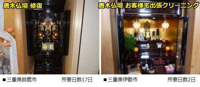 三重館鈴鹿市と伊勢市でそれぞれ唐木仏壇の修復、お客様宅出張クリーニングを行いました。