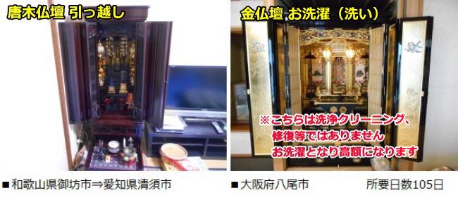 唐木仏壇の引っ越し、御坊市から愛知県清須市 金仏壇お洗濯(洗い)八尾市