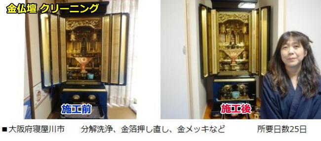 大阪府寝屋川市で大阪仏壇のクリーニングをしました。所要日数25日で金メッキ、金箔押し直し、分解洗浄などをおこないました、