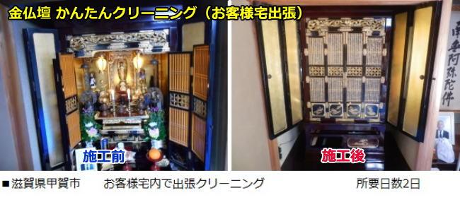 金仏壇(彦根仏壇)簡単クリーニングを滋賀県甲賀市で行った時のビフォーアフターです。所要日数2日でした。