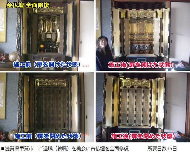 古仏壇(京仏壇)を全面修復しました。扉を開けた状態と占めた状態、施工前と施工後の4枚の画像です。所要日数35日でした。
