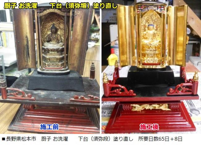 施工事例:長野県松本市 厨子お洗濯 所要日数65日 下台塗り直し 所要日数8日
