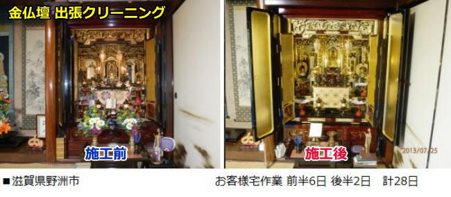 彦根仏壇 お客様宅出張クリーニング 滋賀県野洲市 所要日数計28日
