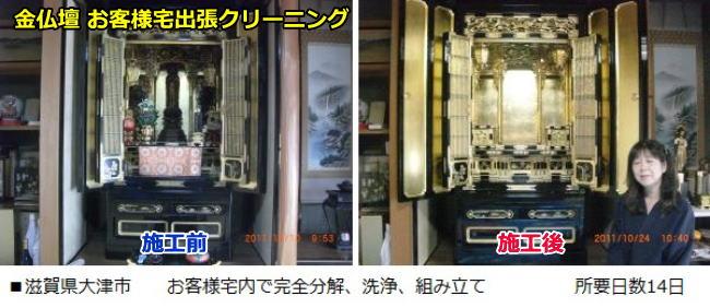 滋賀県大津市のお客様宅で京仏壇を出張クリーニングしました。14日かかりました。
