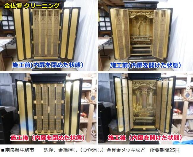 金仏壇クリーニング(大阪仏壇)ビフォーアフターで、扉を閉めた状態と開けた状態の2種類の画像です。