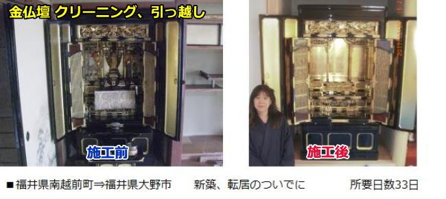 福井県南越前町から福井県大野市に金仏壇を引っ越ししました。ついでに33日かけてクリーニングした時のビフォーアフターです。