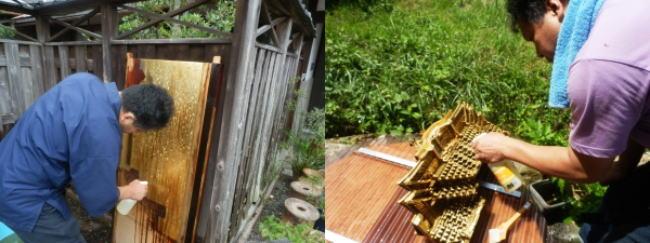 お客様宅の庭先で仏壇洗浄作業をしています。