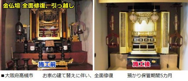 大阪府高槻市で金仏壇(京仏壇)の全面修復をして新居に引っ越ししました。預かり保管期間5カ月でした。