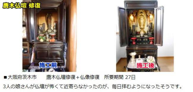 唐木仏壇の修復のビフォーアフターです。 仏像修復も同時にしました。 所要日数27日です。